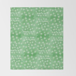 flakes of Pohutukawa- green Throw Blanket