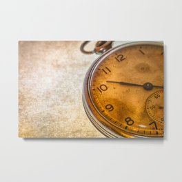 Russian antique pocket watch on brown background Metal Print