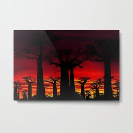 Madagascar Baobab Tree Sunset Landscape Painting Metal Print