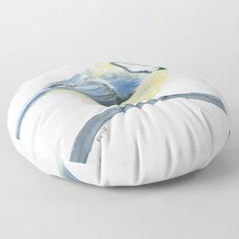 Blue tit, watercolor painting Floor Pillow