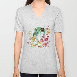 Floral Alice In Wonderland Unisex V-Neck