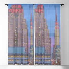 The New Yorker, 481 8th Ave, New York, NY, A Portrait by Jeanpaul Ferro Sheer Curtain