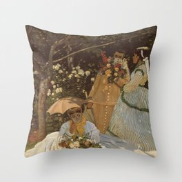 Monet- Women in the Garden, nature,Claude Monet,impressionist,post-impressionism,painting Throw Pillow