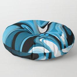 Liquify in Denim, Navy Blue, Black, White Floor Pillow