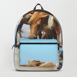 Watercolor Horse 40, Assateague Pony, Assateague, Maryland, Herd Hunters Backpack