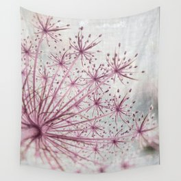 Vintage Raspberry Pink and Paris Gray Botanical Queen Anne's Lace Wildflower Wall Tapestry
