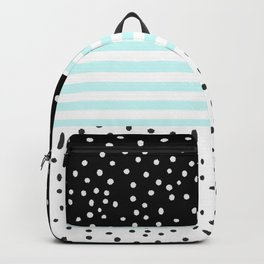Modern black white teal stripes watercolor polka dots Backpack
