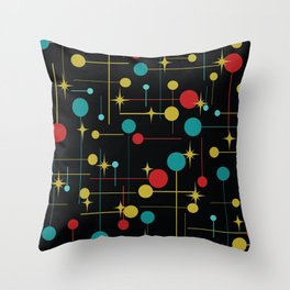 Circles and Lines in Black Throw Pillow