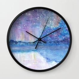 Watercolor Blue Island Wall Clock