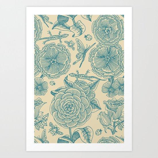 Garden Bliss - in teal & cream Art Print
