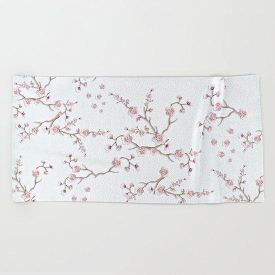 SAKURA LOVE - GRUNGE WHITE Beach Towel