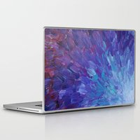 helen Laptop & iPad Skins featuring SCALES OF A DIFFERENT COLOR - Abstract Acrylic Painting Eggplant Sea Scales Ocean Waves Colorful by EbiEmporium