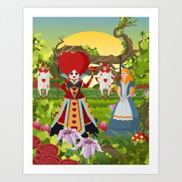 fantasy girl with red queen Art Print