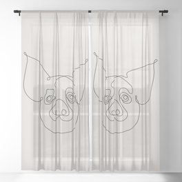 One Line Pig Sheer Curtain