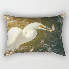 Egret With Prey Rectangular Pillow