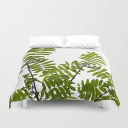 Green Rowan Leaves White Background #decor #society6 #buyart Duvet Cover