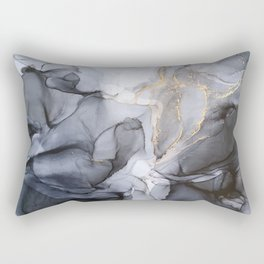 Calm but Dramatic Light Monochromatic Black & Grey Abstract Rectangular Pillow