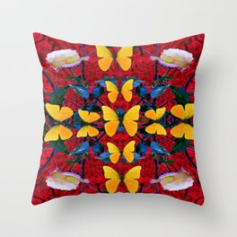 RED-WHITE ROSES & YELLOW BUTTERFLIES GARDEN Throw Pillow