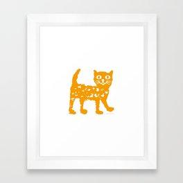 Orange cat illustration, cat pattern Framed Art Print
