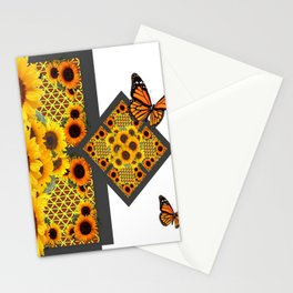 GOLD SUNFLOWERS & MONARCH BUTTERFLIES ART DECO Stationery Cards