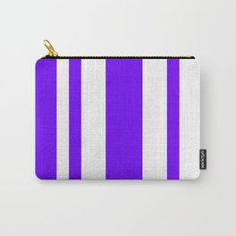 Mixed Vertical Stripes - White and Indigo Violet Carry-All Pouch