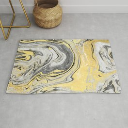 Reiko - gold grey black and white minimal marble abstract ink japanese modern monoprint art  Rug