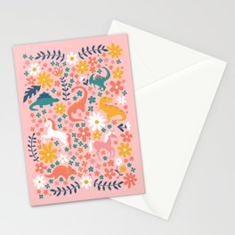 Floral Burst of Dinosaurs + Unicorns Stationery Cards