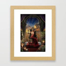 XI. Justice Tarot Card Illustration (Color) Framed Art Print