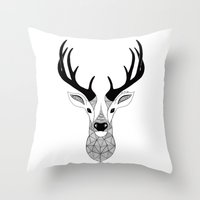 deer Throw Pillows featuring Deer by Art & Be