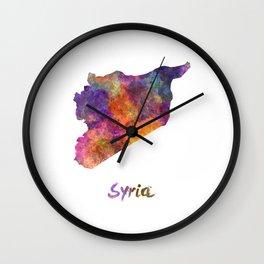 Syria in watercolor Wall Clock