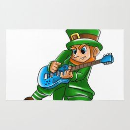 Shamrockin_ Leprechaun Guitarist St Patricks Rug