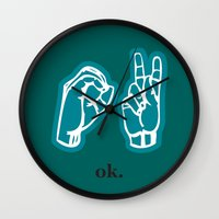 kim sy ok Wall Clocks featuring ok by Chloe PurR