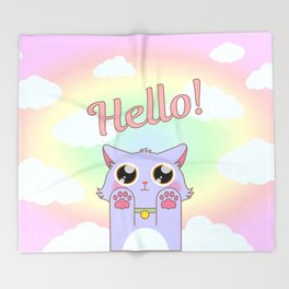 Cat Pastel Hello Throw Blanket