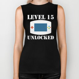 Level 15 Unlocked Video Games 15th Birthday Biker Tank