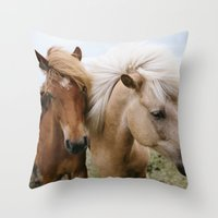 iceland Throw Pillows featuring Iceland Horses by LUKE/MALLORY