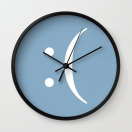 sad face sign on placid blue background Wall Clock