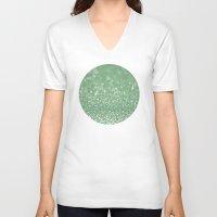 bokeh V-neck T-shirts featuring Seafoam bokeh by Laura Ruth
