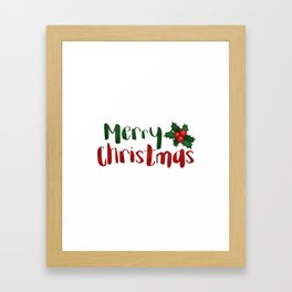 Merry Christmas | Red And Green Holly Framed Art Print