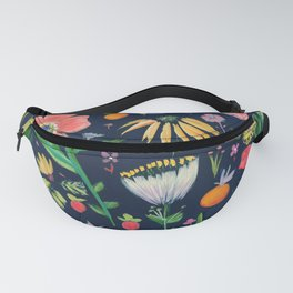Flowers on blue Fanny Pack