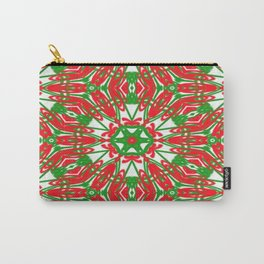 Red, Green and White Kaleidoscope 3376 Carry-All Pouch