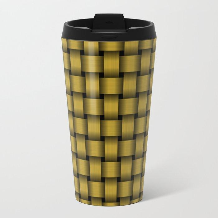 American Gold Weave Pattern Travel Mug