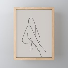 Female Nude Line Drawing No.2 Framed Mini Art Print