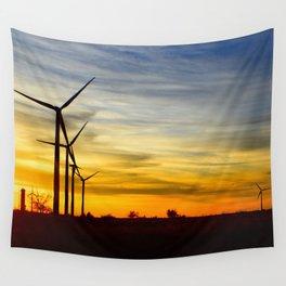 Sunset on Windmill Farm Wall Tapestry