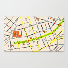 Tel Aviv map - Rothschild Blvd. Hebrew Canvas Print