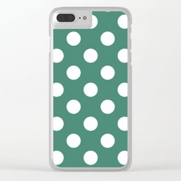 Viridian - green - White Polka Dots - Pois Pattern Clear iPhone Case