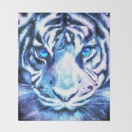 White Tiger   Snow Tiger   Tiger Face   Space Tiger Throw Blanket