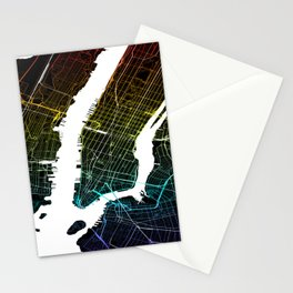 Colourful City Map of New York, USA Stationery Cards