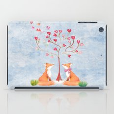 Fox love- foxes animal nature _ Watercolor illustration iPad Case