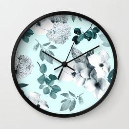 Night bloom - moonlit mint Wall Clock
