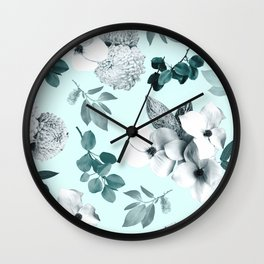 Night bloom - moonlit mint Wall Clock
